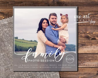 Family Portrait Photo Session / mini session template for Photographers 5x5