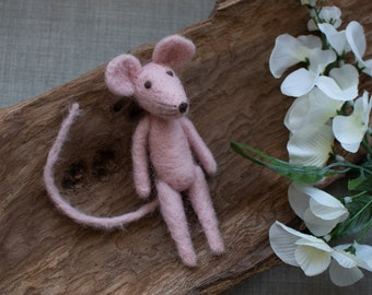 Felted Pink Mouse, ready to shipping , uk free shipping