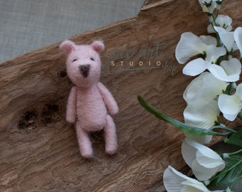 Felted Pink Bear, ready to shipping , uk free shipping