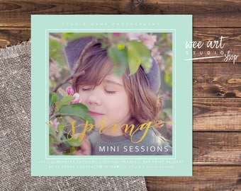 Photography Spring Mini Session Template for Photographers 5x5, Gold