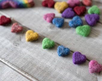 Tiny rainbow set hearts , set of seven, Photography Prop, Rainbow hearts