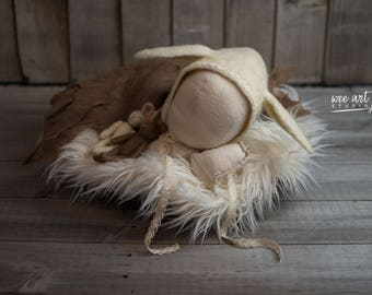 Felted white vintage style rabbit bonnet