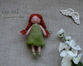 Felted red hair doll, freckled doll,ready to shipping , uk free shipping