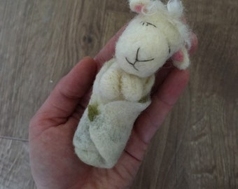 Tiny Sleepy Lamb Photography Prop Needle Felted / Ready to shipping