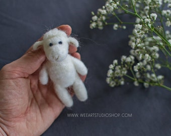 Tiny Lamb Photography Prop Needle Felted / Ready to shipping