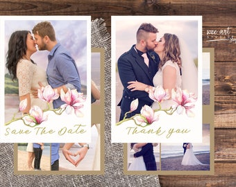 Magnolia Wedding Set, Save The Date and  Thank You Card Set Templates for Photographers 7x5