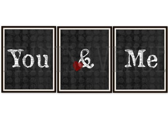 YOU and ME Art Print, WEDDING Gift, Bridal Shower Gift, Anniversary Present, Master Bedroom Art, Married Decor, Husband and Wife Art