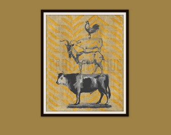 FARM Art Print, Farm ANIMALS Wall Art, KITCHEN Wall Decor, Cow, Goat, Pig, Rooster