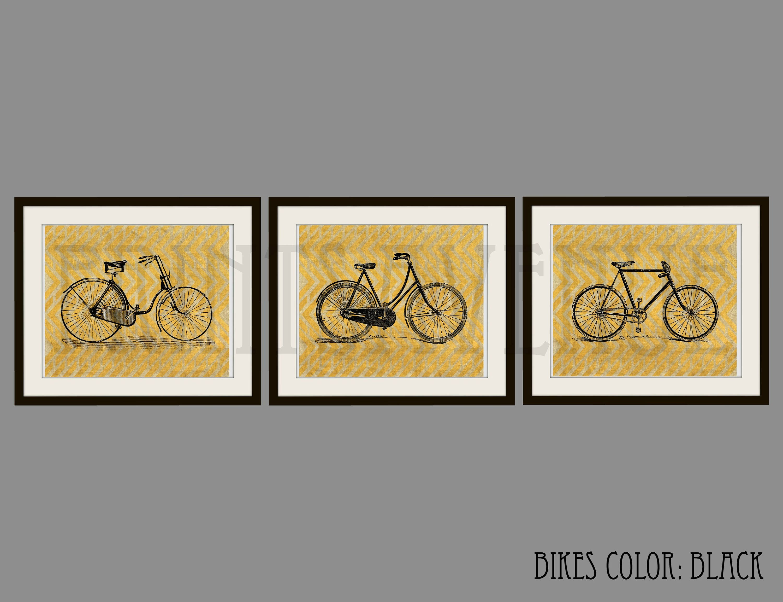 BIKE Art Prints BICYCLE Wall Art BIKE Wall Decor Bike Trio | Etsy