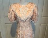 Vintage 1980 39 s Gunne Sax Pink Peach Lace Victorian Prairie puff sleeve party dress Deep V back Boho Size M-L