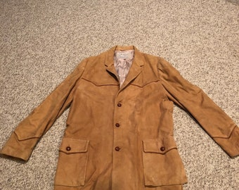 0c255d964da vINTAGE 50s 60s Fieldmaster outerwear Sears and Roebuck Butter Suede Western  Rockabilly Ranch Jacket Sport Coat with leather yokes Small