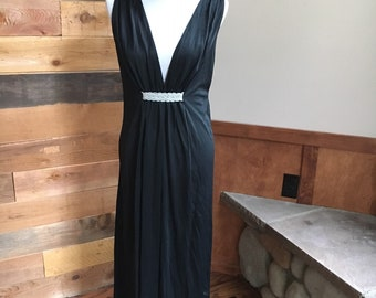 263c30b2feab6 Vintage 1970 s Black Greek Goddess Sexy Slip Dress Nightgown Size  small Hollywood Glamour Nightgown Slipdress Black Grecian goddess Lingerie