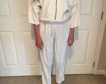 ea439a62a4f Vintage NEW Deadstock PG Collections 80 s 90 s Cream white Flight Suit  Jumpsuit Vintage Studio 54 jumpsuit 80s Batwing Shoulder pad Jumpsuit