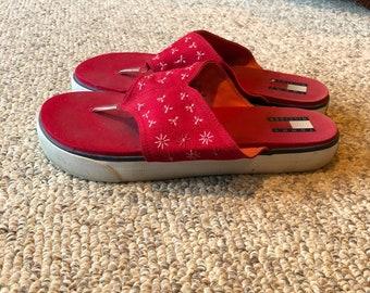 7a93247adf0 Vintage 90 s Tommy Hilfiger Red Platform Sneakers thong flip flop sandals  size 9- 10 Vintage Tommy Girl Vtg Tommy Jeans
