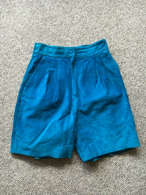 70's or 80's Bright Turquoise Blue High Waisted Su