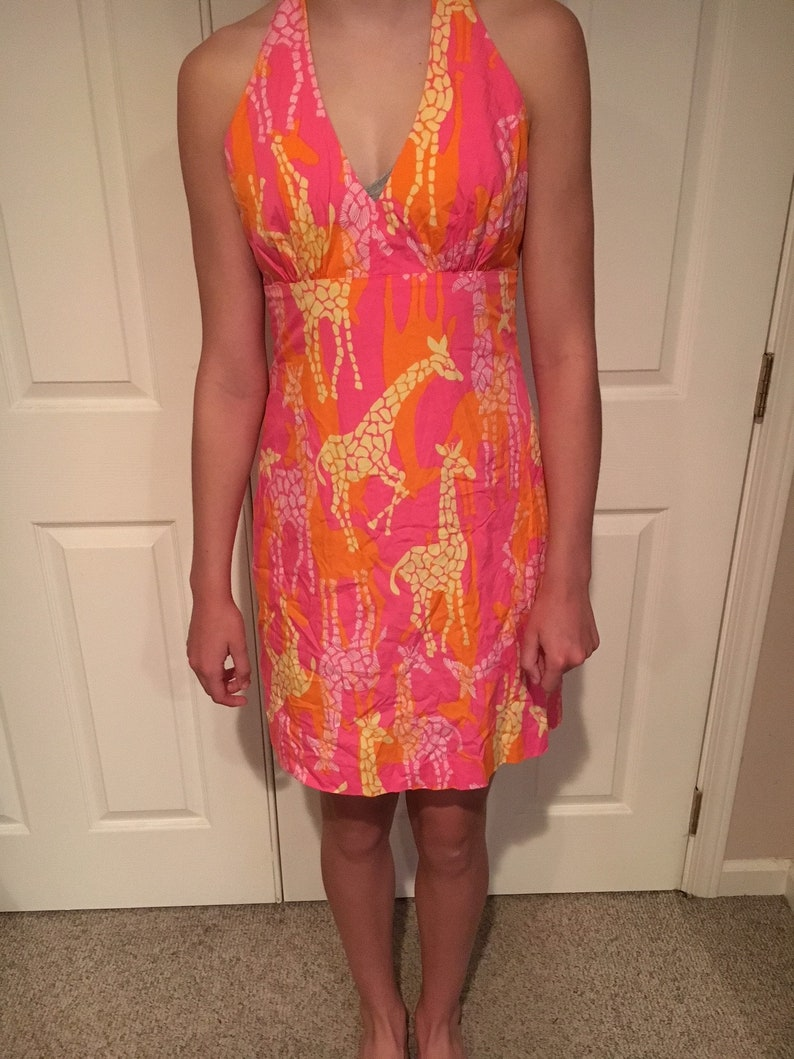 db4c8d05520a06 Vintage Lilly Pulitzer Pink & Orange Bright Colored Giraffe | Etsy