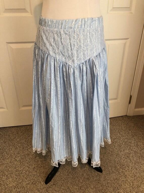 Vintage 70's baby Blue Floral Prairie Skirt/ Cali… - image 3