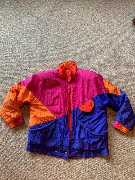 Vintage Andy Johns Pink Orange Colorblock Neon puf