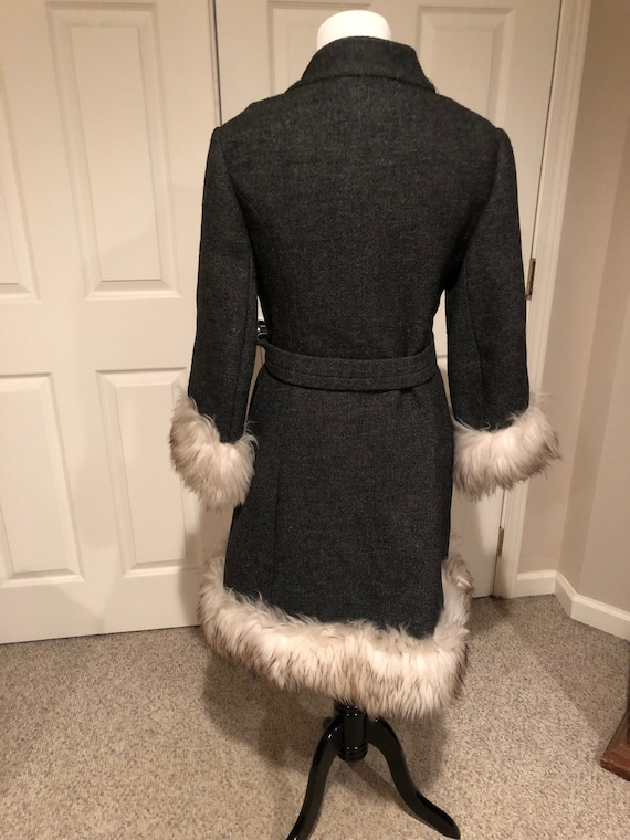 Vintage 1960's Mod Grey Tweed wool Fur trim Princ… - image 4