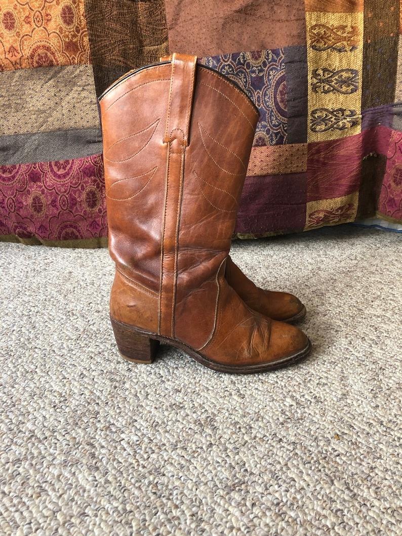 b026f514ea0 Vintage Miss Capezio Chestnut Leather cowboy Boho Boots Size 6.5-7 size 7.5