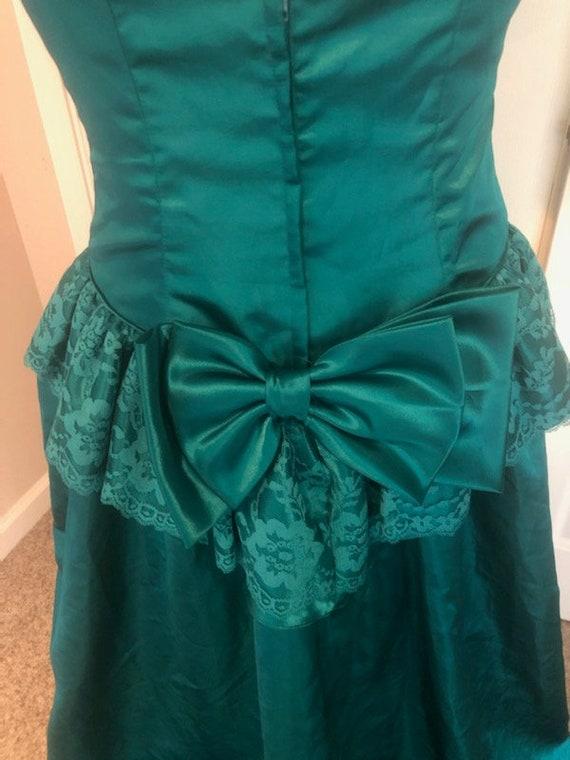 Vintage 80's Emerald green Loralie Big Puff sleev… - image 4
