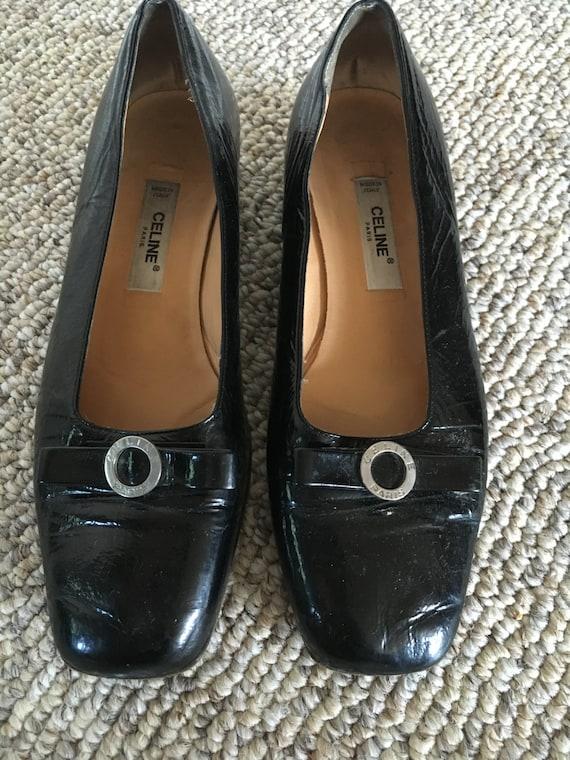 Vintage Celine black patent square toe Logo Loafer Pump Vara Designer Shoes Size 36 12 us 6.5