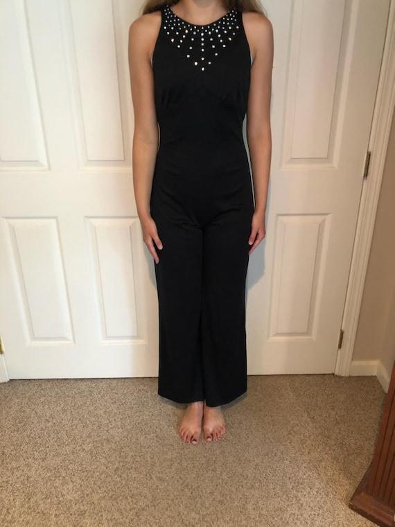 Vintage Black bell bottom Jumpsuit/70s Disco Jewel
