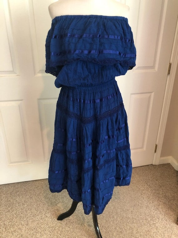 Vintage Mexican Spanish Royal Blue Gauze Crochet H
