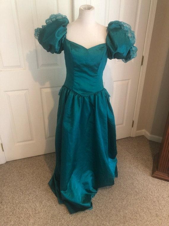 Vintage 80's Emerald green Loralie Big Puff sleev… - image 1