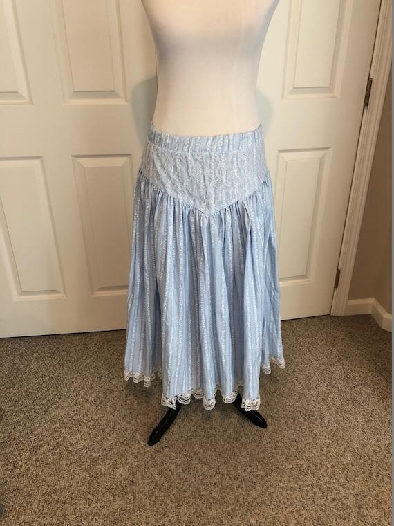 Vintage 70's baby Blue Floral Prairie Skirt/ Cali… - image 1