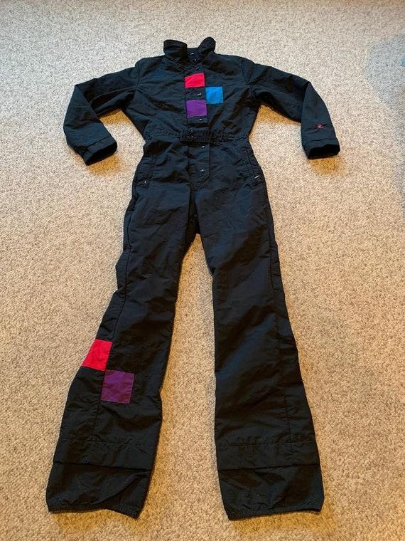 Vintage Roffe black Bright Colorblock 1980's Ski B