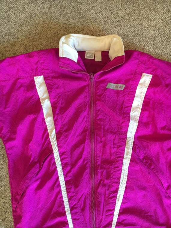 e42adf2270 Vintage Nike Bright Neon Pink and White Nylon Hooded Zip Up