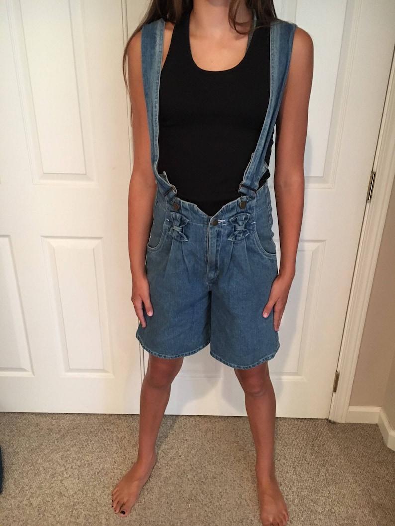 c14a3718628 80 s 90s Short Jean Overall Shorts Bows Sexy Shortalls