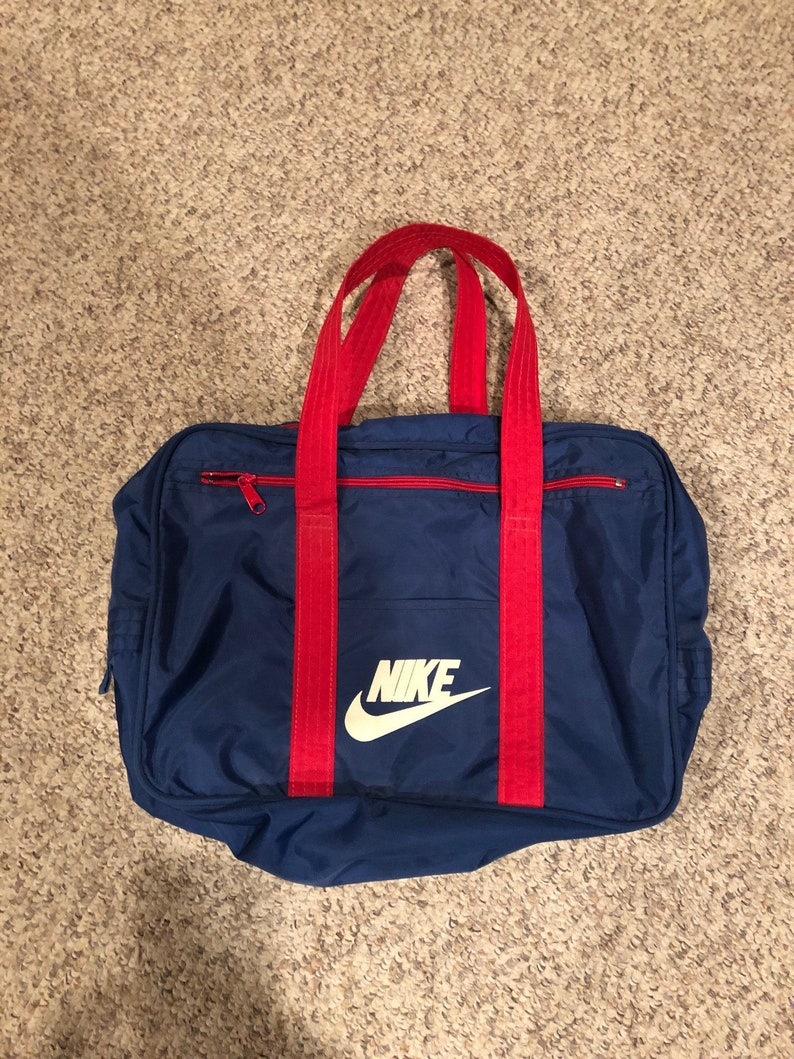 22373483fd Vintage 1970 s Nike Navy blue and Red Duffel Gym Bag