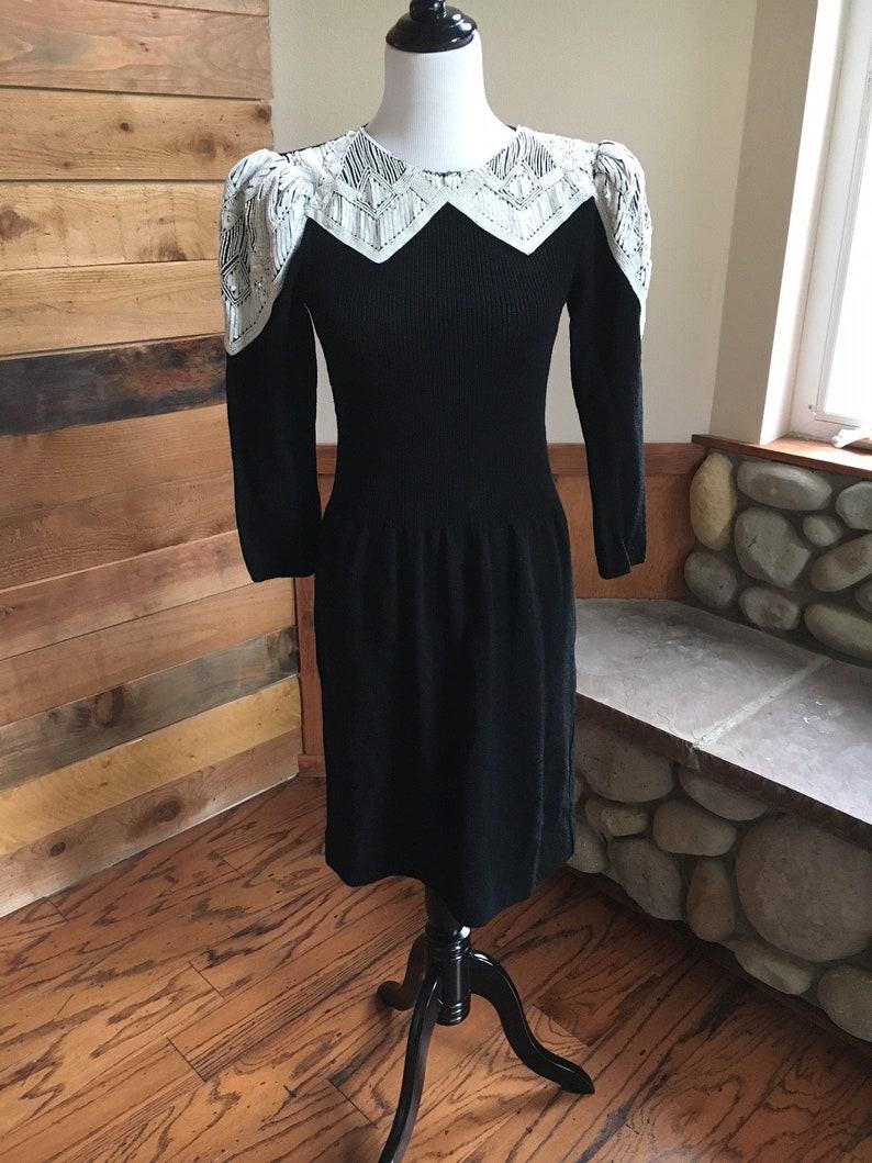 Vintage Couture Pat Sandler For Wellmore Black with White sequin beading on  bodice Knit Evening Dress Size sm Vtg St John 80 s Dress 3ef5f7014