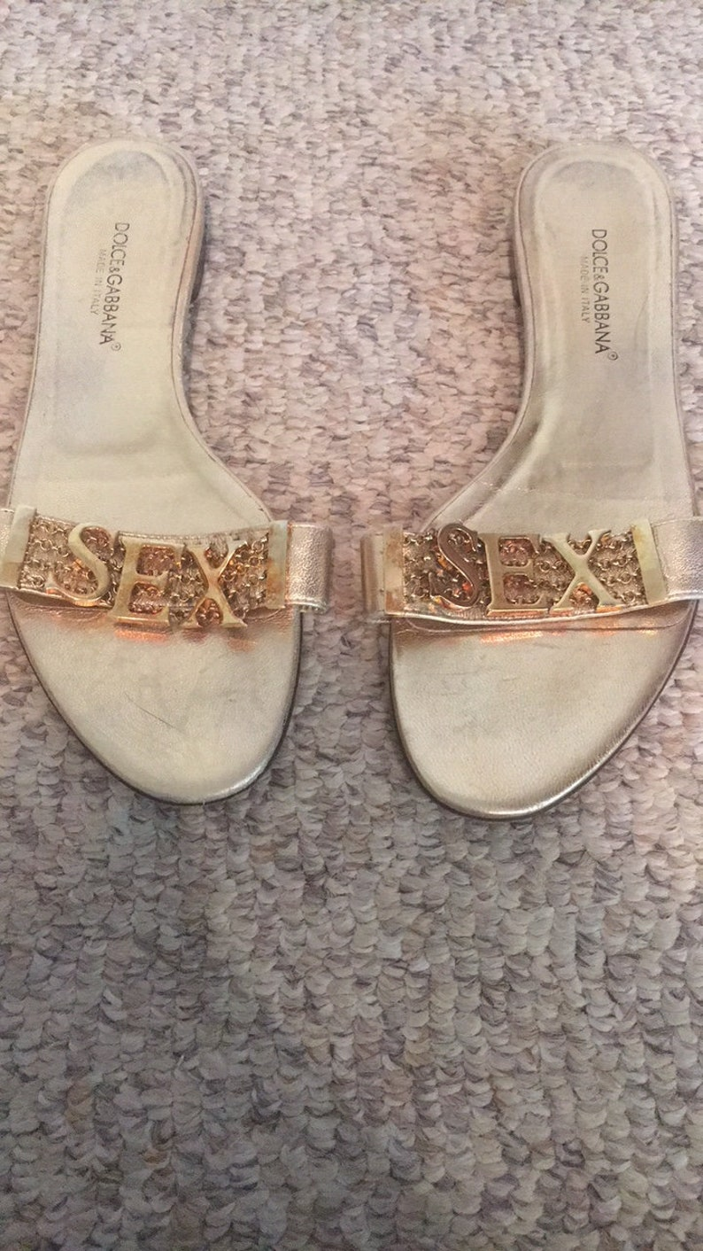 98b6f1fb6e Vintage 90s Dolce and Gabbana Sex Gold Mule Sandals Shoes EU