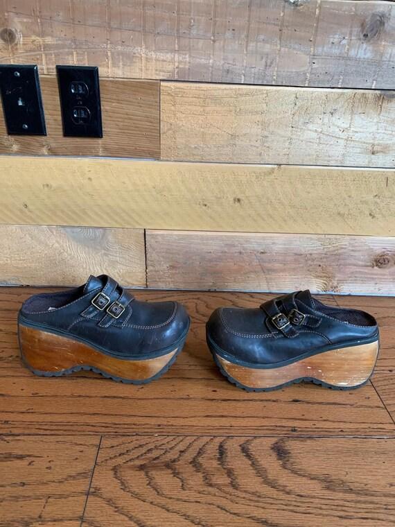 Vintage Fashion Bug Super Platform Mules wood heel