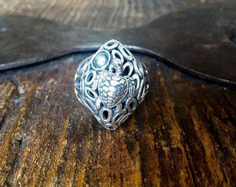 Sterling Silver Turtle Statement Ring