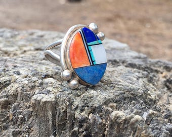 Vintage Boho 1970s Native American Navajo Sterling Silver Blue Lapis, Mother of Pearl, Turquoise and Spiny Oyster Statement Ring