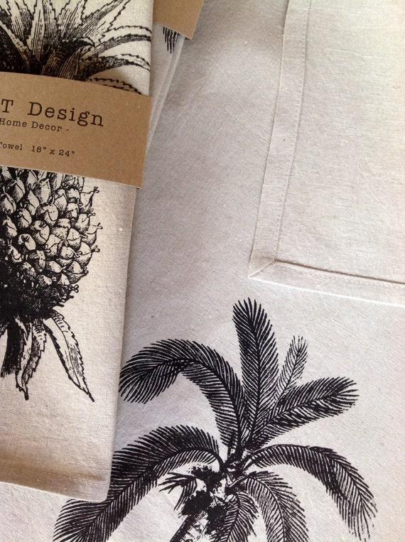 Jahrgang Palme Siebdruck Geschirrtuch, 100 % Bio Leinen, Gastgeberin Geschenk, Hochzeit, Küchentuch