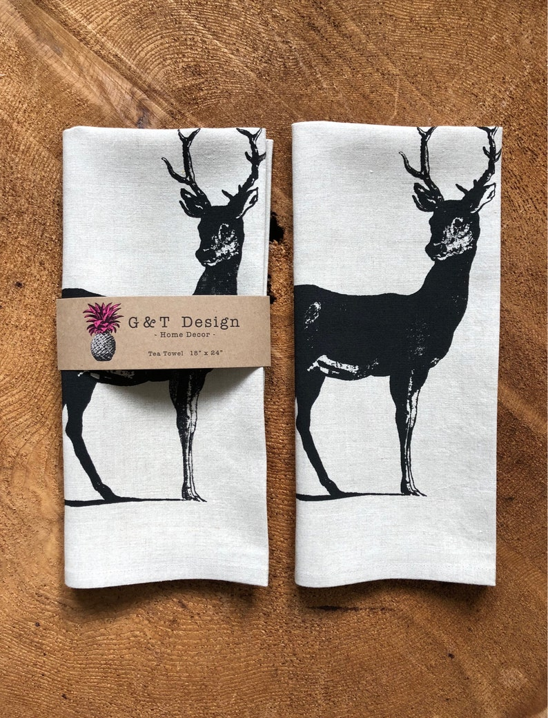 100 % Leinen Siebdruck schwarz Hirsch Geschirrtuch, wiederverwendbare Eco Tuch Küchentuch, Wald, Hostess oder Weihnachtsgeschenk