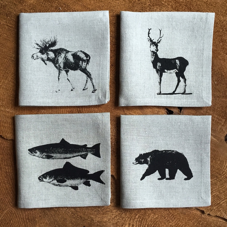 Canadiana Wildlife Cocktail Napkins Screen Printed onto 100% image 0