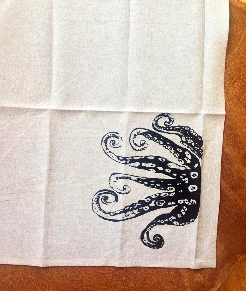 100 % Siebdruck Leinen schwarz Octopus Geschirrtuch, Eco Küche Handtuch, Hostess oder Hochzeitsgeschenk
