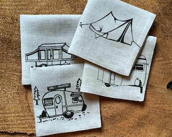 Vintage Campers and a Tent- Screen Printed 100% Linen Cocktail Napkins, Set of 4, Wedding Gift, Hostess Gift, Mothers Day Gift