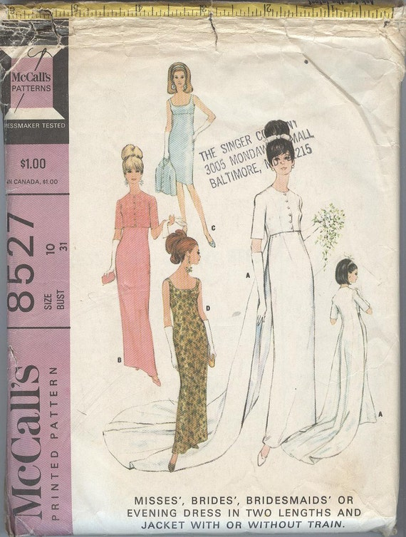 1960s Wedding Dress Pattern McCalls 8527 Evening Dress Wedding