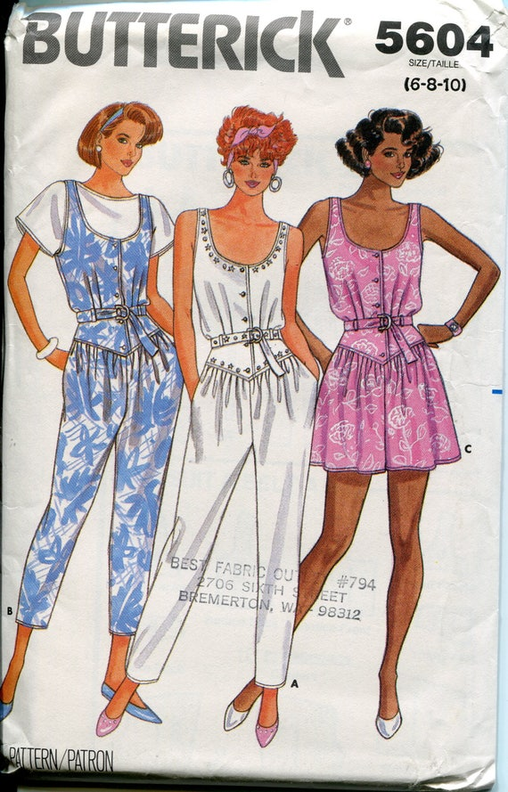 d4bdcb673d Butterick Sewing Patten 5604 Jumpsuit Shorts Mini Dress