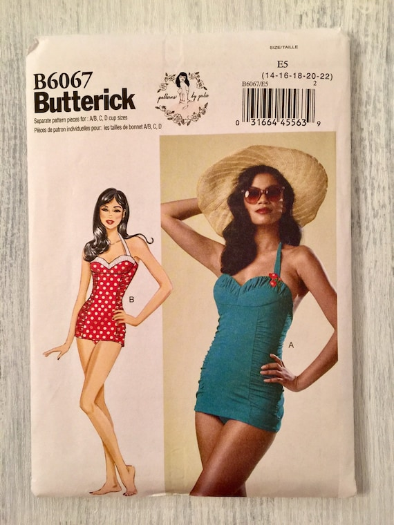 d051fd07b2 Butterick Sewing Pattern B6067 Swimsuit Retro One Piece