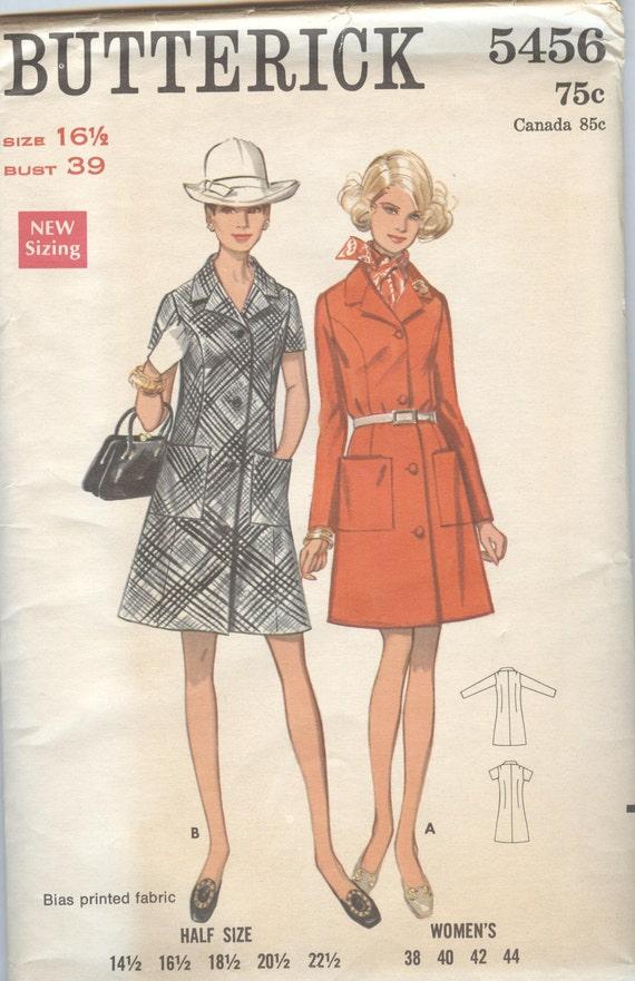 Dress Pattern, Butterick 5616, A Line Front Button Shirt Dress, Vintage Womens Sewing Patterns, uncut