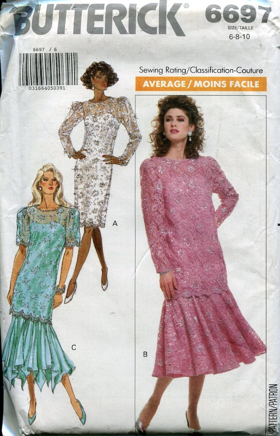 b5b6f6291f Butterick Sewing Pattern 6697 Party Dress Drop Waist Ruffle