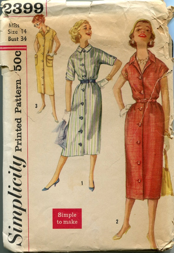 1960s Dress Pattern Vintage Womens Sewing Patterns Simplicity Etsy